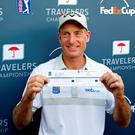 Unique: Jim Furyk with his record-breaking scorecard