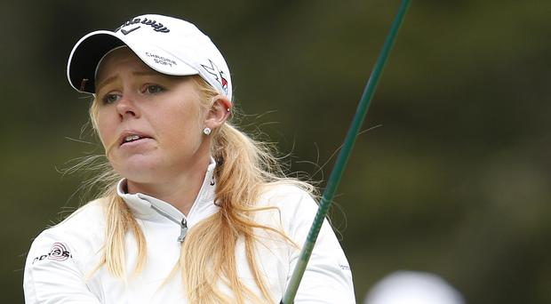Class act: Ulster's Stephanie Meadow on her way to a top 10 finish in the Canadian Pacific Open in Alberta yesterday