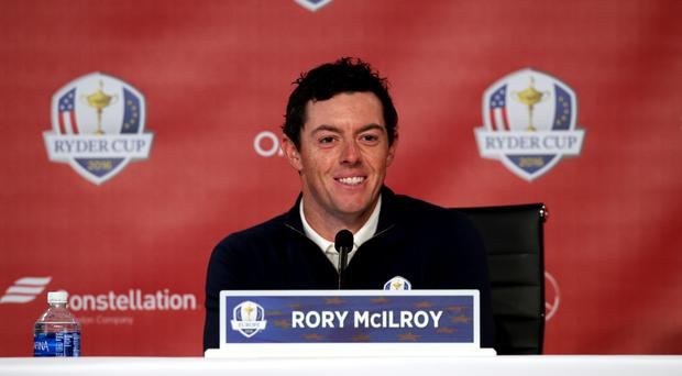 Rory McIlroy laughed off a reminder of his timing blunder at Medinah in 2012