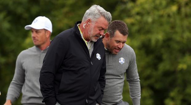 Europe team captain Darren Clarke (left) with Lee Westwood