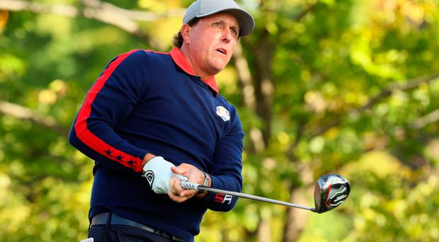 Testing: Phil Mickelson knows he wasn't at his best when he and Rickie Fowler saw off Rory McIlroy and Andy Sullivan