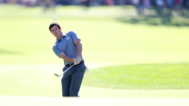 Rory McIlroy was trying to get back into contention on day two in Dubai