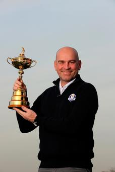 Captain's role: Thomas Bjorn with the Ryder Cup during yesterday's announcement at Wentworth