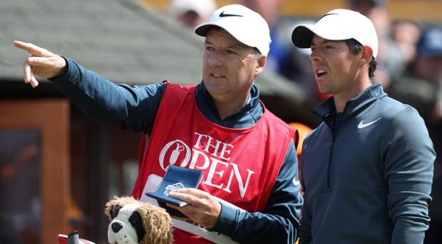 Northern Ireland's Rory McIlroy, right, and former caddie JP Fitzgerald
