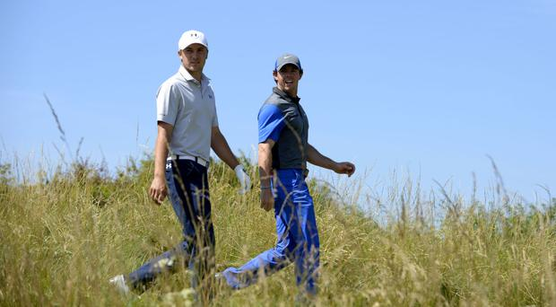 Rory McIlroy, right, believes mental strength is the biggest weapon of US PGA rival Jordan Spieth, left