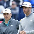 USA's Jordan Spieth and Dustin Johnson, right, are joint leaders of the Northern Trust