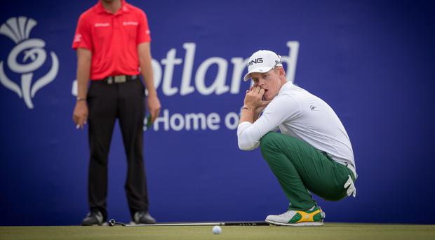 Brandon Stone reacts after missing his putt for a 59 in the final round of the Scottish Open (Kenny Smith/PA)