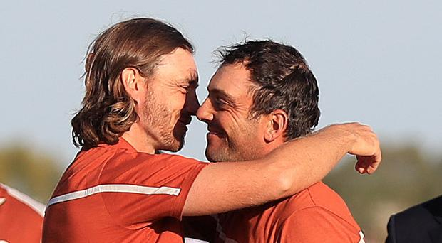 Europe skipper hails molinari as italian and fleetwood prove winning europes tommy fleetwood and francesco molinari embrace after their fourth victory together gareth fuller m4hsunfo