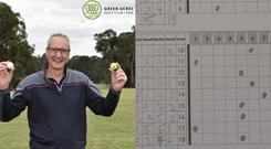 Jim Grant holds two golf balls, each of which he hit a hole in one with – (Green Acres Golf Club/Facebook)