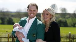 US Masters winner Danny Willett, his wife Nicole and son Zachariah James during a photocall at Lindrick Golf Club, Worksop (Peter Byrne/PA)