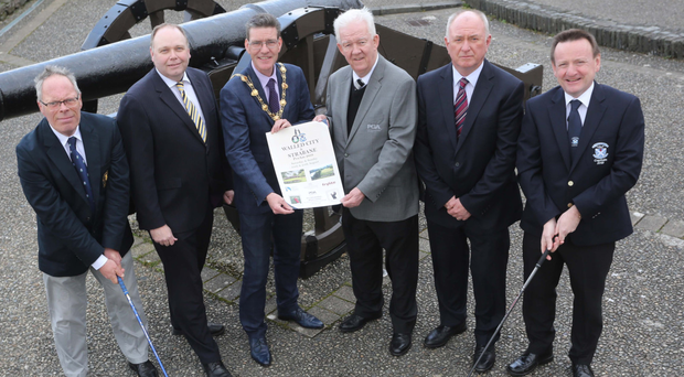 Tee time: launching the Walled City Pro Am are (from left) George Jackson, captain of City of Derry Golf Club; Ciaran O'Neill, Bishop's Gate Hotel; Councillor John Boyle, Mayor of Derry City and Strabane District Council; Michael McCumiskey, secretary of the PGA in Ireland; George McCay, national sales manager Frylite; Declan Doherty, captain of Strabane Golf Club