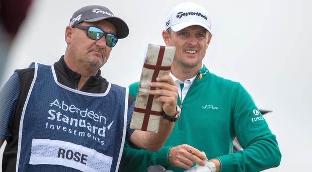 Justin Rose chats with Mark Fulcher (Kenny Smith/PA)