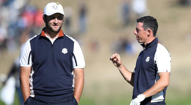 Jon Rahm (left) believes Ryder Cup team-mate Rory McIlroy is the man to beat at Augusta (Adam Davy/PA)