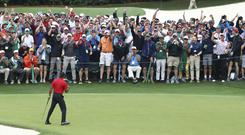 Tiger Woods celebrates his Masters victory in front of the spectators on the 18th green at Augusta (Curtis Compton/AP).