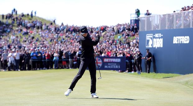 Marcus Kinhult celebrates his winning putt on the 18th hole of his final round of the British Masters (Richard Sellers/PA).