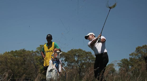 Rory McIlroy carded a third round of 69 in the US PGA Championship (AP Photo/Andres Kudacki)