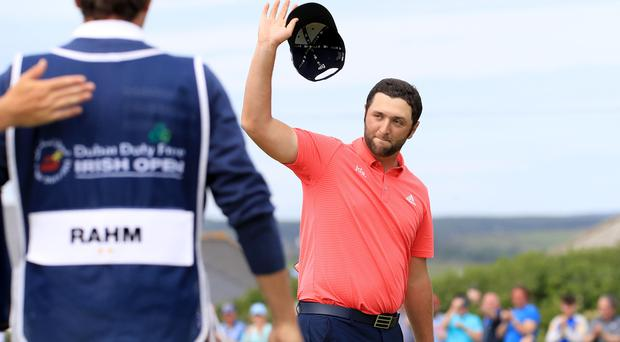 Jon Rahm overturned a five-shot deficit for victory in Ireland (Donall Farmer/PA)