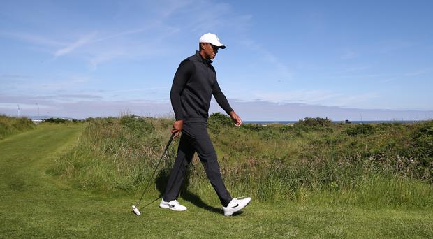 Tiger Woods pictured during his practice round at Royal Portrush on Sunday (Niall Carson/PA)