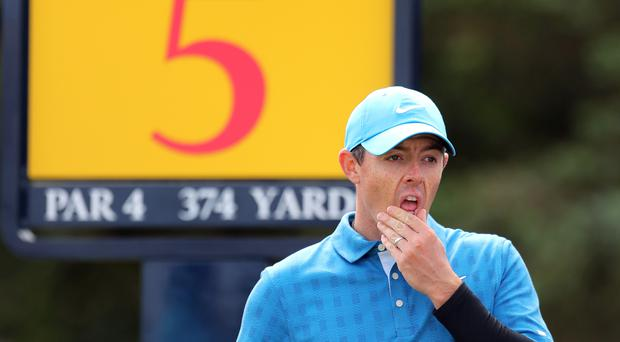 Rory McIlroy, pictured, blew his chance of Open glory on home turf with a woeful opening-round 79 (Richard Sellers/PA)