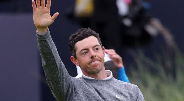 Northern Ireland's Rory McIlroy waves to his fans (Richard Sellers/PA)