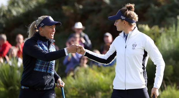 Suzann Pettersen and Anne Van Dam have helped Europe claim a narrow lead in the Solheim Cup (Jane Barlow/PA)
