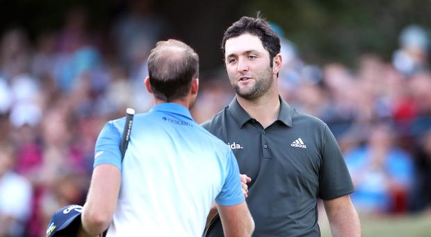 Jon Rahm (right) and Danny Willett share the lead after 54 holes of the BMW PGA Championship (Bradley Collyer/PA)
