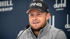 Englands Tyrell Hatton chats to the media during a press conference at The Old Course, St Andrews (Kenny Smith/PA)