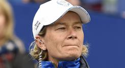 Team Europe captain Catriona Matthew on the 1st tee during the Singles match on day three of the 2019 Solheim Cup at Gleneagles Golf Club, Auchterarder.