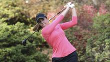 Georgia Hall, of England, hits her tee shot on the second play-off hole en route to winning the Cambia Portland Classic (Steve Dipaola/AP)