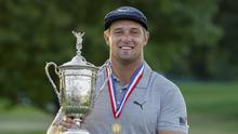 Bryson DeChambeau holds the US Open trophy following his victory at Winged Foot (AP Photo/John Minchillo)
