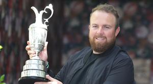 Happy homecoming: Shane Lowry in Dublin yesterday