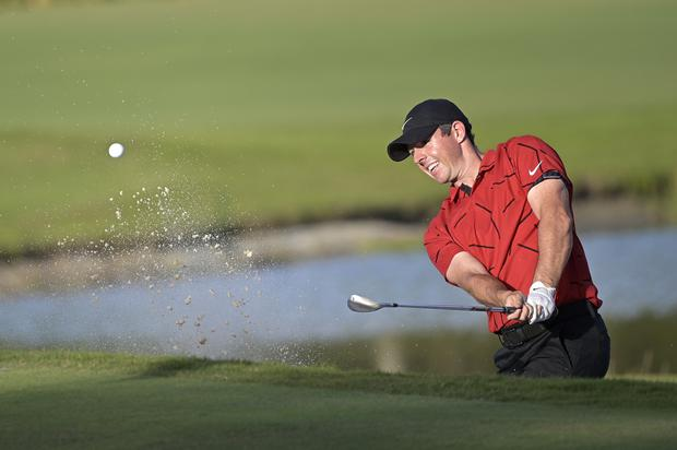 Rory McIlroy wears red and black in honour of Tiger Woods in the final round of the WGC-Workday Championship (AP Photo/Phelan M. Ebenhack)