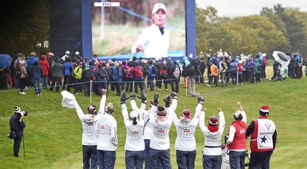 The USA players were celebrating after hitting back to level with Europe on day two of the Solheim Cup (Ian Rutherford/PA)