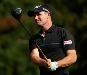 Back on course: Padraig Harrington practices at Galgorm Castle ahead of his return to competitive action after six months out