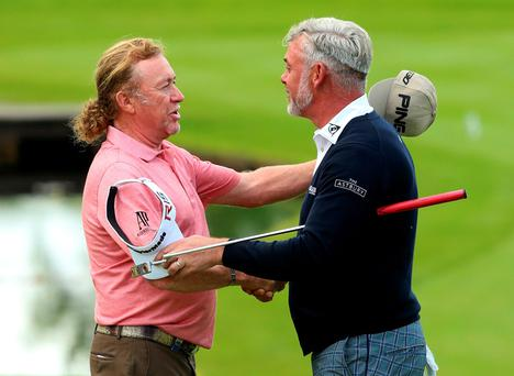 See you in Newcastle: Darren Clarke and Miguel Angel Jiminez at Wentworth yesterday