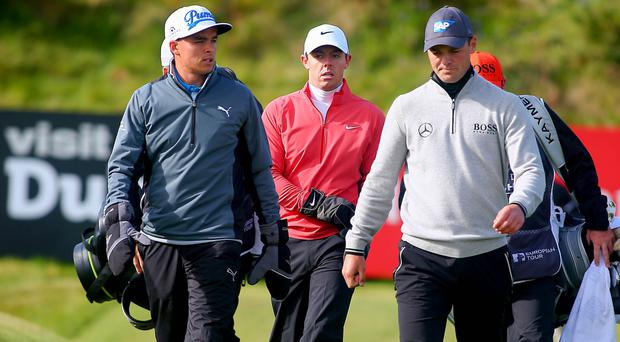 Star power: Rory McIlroy attracted big names like Rickie Fowler (left) and Martin Kaymer (right)