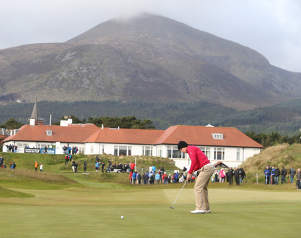 Will power: Danny Willett on the 10th green during the Dubai Duty Free Irish Open at Royal County Down last year