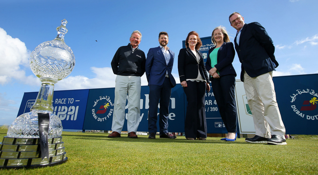 Crystal gazing: during the Dubai Duty Free Irish Open media day at Portstewart Golf Club are (from left) Michael Moss, Portstewart Golf Club, Simon Alliss, European Tour, Sinead El Sibai, Dubai Duty Free, Aine Kearney, Tourism Northern Ireland and Barry Funston, The Rory Foundation