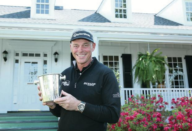 Still going strong: Darren Clarke, pictured yesterday after the presentation for his 500th tournament, is looking to the future