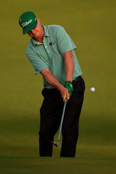 Glove affair: Charley Hoffman was the first player to tee off