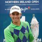 Hands on the prize: Joakim Lagergren of Sweden won the Northern Ireland Open last year