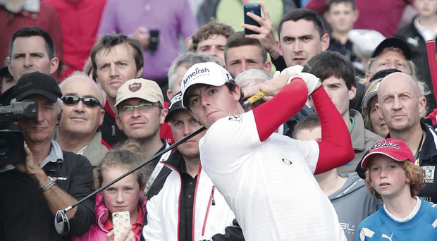 Rory McIlroy pictured on the 16th.
