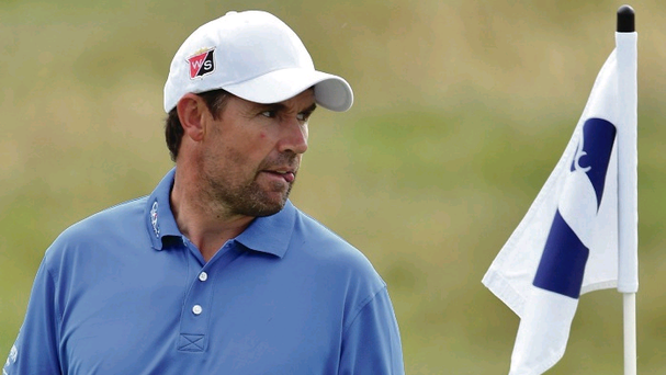 Flagging fortunes: Padraig Harrington at practice yesterday