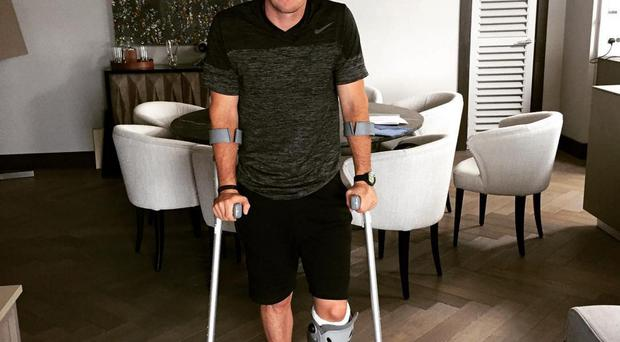 On crutches: Rory McIlroy