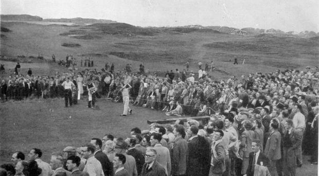 Blast from the past: Max Faulkner drives off at the 10th tee at the 1951 Open Championship