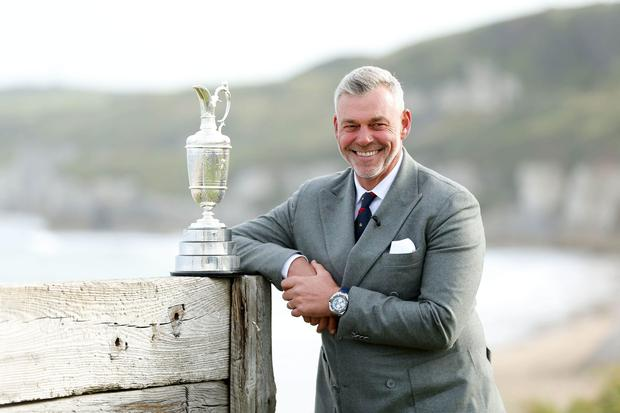 Here's Open: Darren Clarke with iconic Claret jug at Royal Portrush yesterday