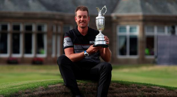 Major breakthrough: Henrik Stenson celebrates winning the Open