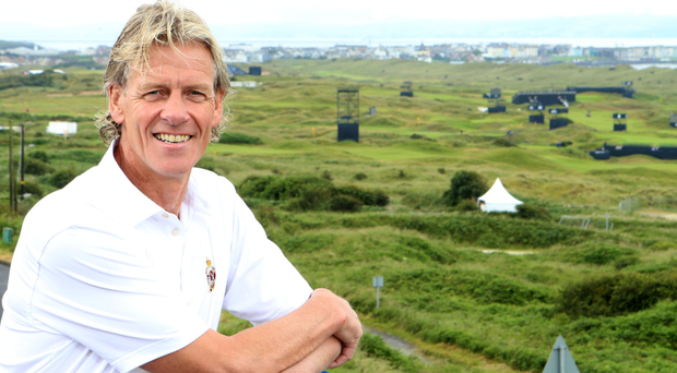 On course: Royal Portrush captain Robert Barry at the course this week ahead of the Open Championship