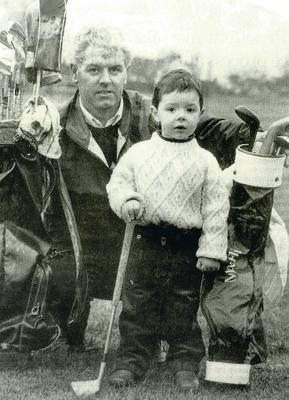 A three-year-old Rory McIlroy with dad Gerry