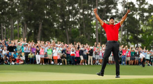 The Master: Tiger Woods celebrates his victory at Augusta last month